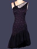 billige Antrekk til latindans-Latin Dans Kjoler Dame Trening / Ytelse Spandex Drapering / Krystall / Rhinestone Ermeløs Kjole / Oppvisning / Samba