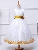 preiswerte Kleider für die Hochzeitsfeier-A-Linie Tee-Länge Blumenmädchenkleid - Baumwolle / Polyester / Tüll Ärmellos Schmuck mit Schleife(n) / Schärpe / Band / Blume durch