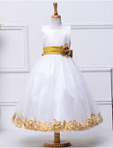 cheap Flower Girl Dresses-A-Line Tea Length Flower Girl Dress - Cotton / Polyester / Tulle Sleeveless Jewel Neck with Bow(s) / Sash / Ribbon / Flower by