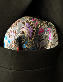 お買い得  メンズネクタイ&ボウタイ-メンズパーティーレーヨンネクタイポケットの四角 - 花の色のブロックジャカード、ベーシック