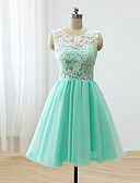 cheap Prom Dresses-A-Line Scoop Neck Knee Length Lace / Satin / Tulle Bridesmaid Dress with Buttons / Lace by LAN TING Express
