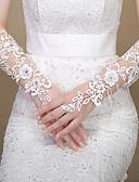 ieftine Voal de Nuntă-Dantelă Lungime Cot Mănușă Mănuși de Mireasă / Mănuși de Party / Seară With Piatră Semiprețioasă