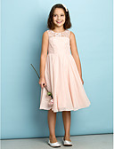 cheap Junior Bridesmaid Dresses-A-Line Scoop Neck Knee Length Chiffon Junior Bridesmaid Dress with Lace by LAN TING BRIDE® / Natural / Mini Me