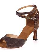 זול שמלות נשים-בגדי ריקוד נשים נעליים לטיניות נצנצים סנדלים עקב רחב ללא התאמה אישית נעלי ריקוד חום / כחול / מוזהב / בבית / הצגה / עור / אימון