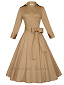 cheap Women's Dresses-Maggie Tang Women's Plus Size Vintage A Line Dress - Solid Colored Bow Shirt Collar