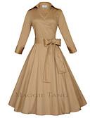 abordables Vestidos de Talla Grande-Mujer Tallas Grandes Vintage Algodón Línea A Vestido - Lazo, Un Color Midi Cuello Camisero