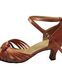 cheap Party Dresses-Women's Latin Shoes / Salsa Shoes Satin Sandal Customized Heel Customizable Dance Shoes Tan / Peach / Black / Indoor / Performance / Practice / Professional
