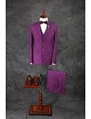 abordables Vestidos para Fiesta de Boda-Un Color A Medida Mezcla de Algodón Traje - Muesca Recto 2 botones / trajes