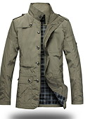 cheap Men's Blazers & Suits-Men's Military Jacket - Solid Color Stand / Long Sleeve