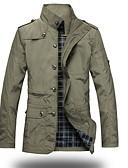 hesapli Erkek Ceketleri ve Kabanları-Erkek Hafta sonu Askeri Sonbahar / Kış Normal Ceketler, Tek Renk Dik Yaka Uzun Kollu Polyester Siyah / Haki