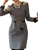 abordables Vestidos de Talla Grande-Mujer Vaina Vestido Trabajo Tallas Grandes Simple,Un Color Escote Redondo Sobre la rodilla Manga Larga Lana Otro Primavera Otoño Invierno