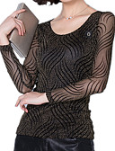 ieftine Bluză-Pentru femei Mărime Plus Size Tricou Dungi Plasă / Bodycon / Primăvară