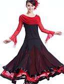 お買い得  ソシアルダンスウェア-ボールルームダンス ドレス 女性用 性能 クレープ プロミックス ドレープ ドレス