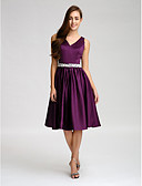 cheap Bridesmaid Dresses-A-Line V Neck Knee Length Satin Bridesmaid Dress with Beading / Bow(s) / Buttons by LAN TING BRIDE®