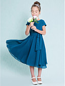 cheap Junior Bridesmaid Dresses-A-Line Jewel Neck Tea Length Chiffon Junior Bridesmaid Dress with Buttons by LAN TING BRIDE® / Natural