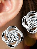 cheap Women's Dresses-Women's Stud Earrings - Sterling Silver, Silver Flower Simple Style, Birthstones, Bridal For Wedding / Party / Daily