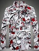 baratos Camisas Masculinas-Homens Tamanhos Grandes Camisa Social Estampado, Flor Algodão Colarinho Clássico Delgado / Manga Longa