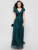 cheap Evening Dresses-A-Line V Neck Floor Length Chiffon Formal Evening Dress with Draping / Ruffles / Ruched by TS Couture®