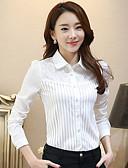 abordables Camisas para Mujer-Mujer Trabajo Tallas Grandes Encaje Camisa, Cuello Camisero Un Color / Primavera / raya fina