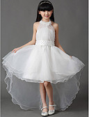 cheap Wedding Veils-A-Line Asymmetrical Flower Girl Dress - Cotton / Organza Sleeveless Halter Neck with Bow(s) / Pleats by LAN TING Express