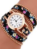 Недорогие Модные часы-Жен. Часы-браслет обернуть часы Стеганная ПУ кожа Повседневные часы Аналоговый Дамы Цветы Богемные Мода - 7 # 8 # 9 # Один год Срок службы батареи