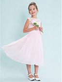 cheap Junior Bridesmaid Dresses-A-Line Scoop Neck Tea Length Chiffon / Lace Junior Bridesmaid Dress with Lace / Flower by LAN TING BRIDE® / Natural