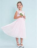 preiswerte Kleider für Junior-Brautjungfern-A-Linie U-Ausschnitt Tee-Länge Chiffon / Spitze Junior-Brautjungferkleid mit Spitze / Blume durch LAN TING BRIDE® / Normal