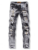 abordables Pantalones y Shorts de Hombre-Hombre Punk & Gótico Tallas Grandes Delgado Vaqueros Pantalones - Un Color