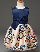hesapli Gelin Annesi Elbiseleri-Kız Polyester Yaz Kolsuz Elbise Çiçek Mavi