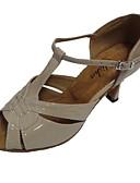 baratos Camisetas Femininas-Mulheres Sapatos de Dança Latina Couro Ecológico Sandália Salto Personalizado Sapatos de Dança Prata / Bege / Bronze / Interior
