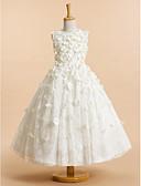 זול שמלות לילדות פרחים-גזרת A באורך הקרסול שמלה לנערת הפרחים - תחרה ללא שרוולים עם תכשיטים עם פרח על ידי LAN TING BRIDE®