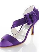 hesapli Gece Elbiseleri-Kadın's Ayakkabı Streç Saten Bahar / Yaz Stiletto Topuk Düğün / Elbise / Parti ve Gece için Saten Çiçek Mor