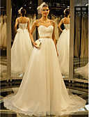 cheap Wedding Dresses-A-Line Sweetheart Neckline Chapel Train Organza Made-To-Measure Wedding Dresses with Beading / Draping / Button by LAN TING BRIDE®