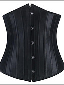 cheap Corsets-Women's Satin Hook & Eye Underbust Corset-Solid