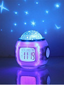 cheap Quartz Watches-1pc Music Alarm Clock Sky Projector NightLight Color-changing Colorful AAA Batteries Powered For Children Dimmable Romantic Atmosphere