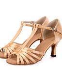 baratos Vestidos Femininos-Mulheres Sapatos de Dança Latina Tecido elástico Sandália / Salto / Têni Presilha / Cadarço de Borracha / Vazados Salto Carretel Personalizável Sapatos de Dança Preto / Bege / Verde / Couro