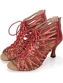 preiswerte Hochzeitsschirme-Damen Schuhe für den lateinamerikanischen Tanz / Salsa Tanzschuhe Kunststoff Absätze / Sneaker Rüschen / Reißverschluss Keilabsatz Maßfertigung Tanzschuhe Schwarz / Rot / Silber / Leistung / Leder