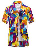 baratos Camisas Masculinas-Homens Camisa Social - Praia Boho Flor / Estampado, Geométrica Algodão Colarinho Clássico Delgado / Manga Curta