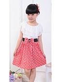 preiswerte Kleider für die Blumenmädchen-Kinder Mädchen Süß Alltag Punkt Schleife / Rüsche Ärmellos Kleid Rot