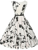 cheap Vintage Dresses-Women's Daily Vintage A Line Dress - Floral Print Cotton White L XL XXL