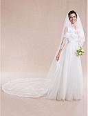 رخيصةأون طرحات الزفاف-Two-tier Lace Applique Edge الحجاب الزفاف Cathedral Veils مع 157،48 في (400cm) دانتيل