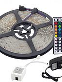 זול טישרטים לגופיות לגברים-5m סרטי תאורת LED גמישים / ערכות תאורה / סרטי תאורה RGB נוריות 3528 SMD RGB שלט רחוק / ניתן לחיתוך / Spottivalo 100-240 V / ניתן להרכבה / נדבק לבד / החלפת צבעים / IP44