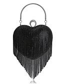 Χαμηλού Κόστους Ρούχα χορού της κοιλιάς-Γυναικεία Τσάντες Πολυεστέρας Βραδινή τσάντα Τεχνητό διαμάντι / Φούντα Μαύρο / Ασημί / Ουράνιο Τόξο