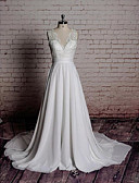 cheap Wedding Dresses-A-Line V Neck Chapel Train Chiffon / Lace Made-To-Measure Wedding Dresses with Bowknot / Appliques by