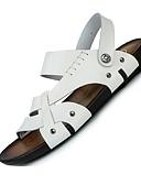 זול טישרטים לגופיות לגברים-בגדי ריקוד גברים עור אביב / קיץ נוחות סנדלים נעלי מים לבן / שחור / חום בהיר