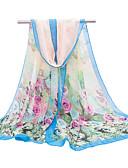 baratos Echarpes Coloridas de Chiffon-Mulheres Festa Férias Chiffon, Retângular - Estampado