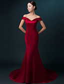 cheap Evening Dresses-Mermaid / Trumpet Off Shoulder / V Wire Sweep / Brush Train Satin Formal Evening Dress with Pleats by LAN TING Express