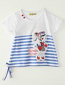 baratos Roupas de Meninos-Para Meninas Camiseta Para Noite Listrado Verão Poliéster Manga Curta Branco