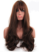 cheap Quartz Watches-Synthetic Wig Wavy With Bangs Synthetic Hair Middle Part Brown Wig Women's Long Capless