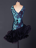 tanie Getry-Taniec latynoamerykański Sukienki Damskie Spektakl Organza Wzór zwierzęcy / Falbany Bez rękawów Wysoki Sukienka